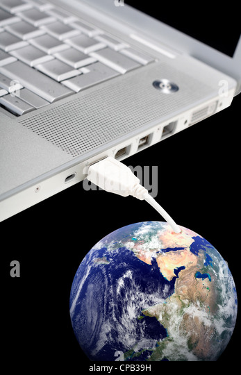 Laptop connected to Earth - Stock-Bilder