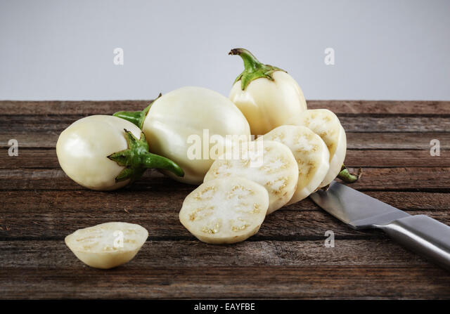 White Aubergines , Mini Eggplants - Stock Image