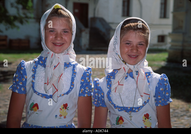 Russia former Soviet Union Kostroma Ipatyevsky Monastery resident sisters matching outfits - Stock Image