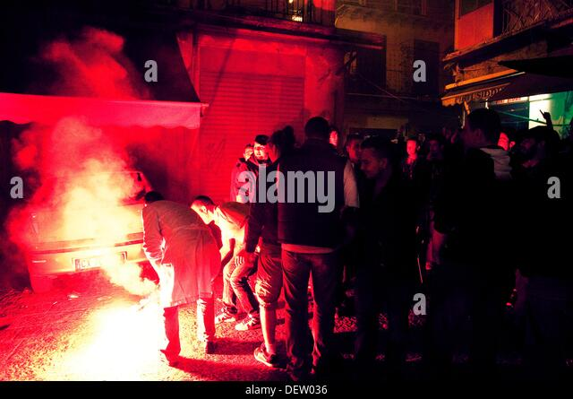 Italian hooligans burning things. Palermo, Italy. - Stock Image