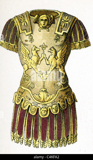 This 1882 illustration shows a Roman general's armor at time of Late Republic and Empire (c. 100 B.C. - A.D. - Stock Image