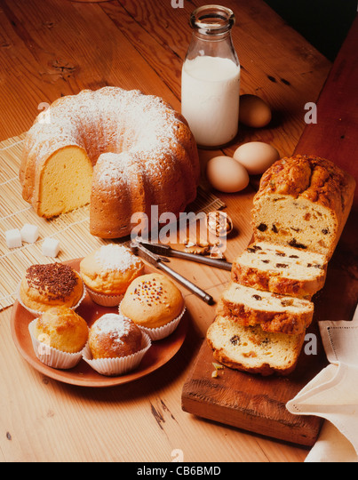 warm and delicious bakery preparations - Stock Image