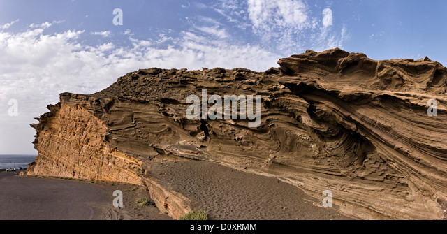 Spain, Lanzarote, El Golfo, Crazy, rock formation, landscape, summer, mountains, hills, Canary Islands, - Stock Image
