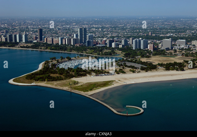 aerial photograph Montrose beach and harbor, Chicago, Illinois - Stock Image