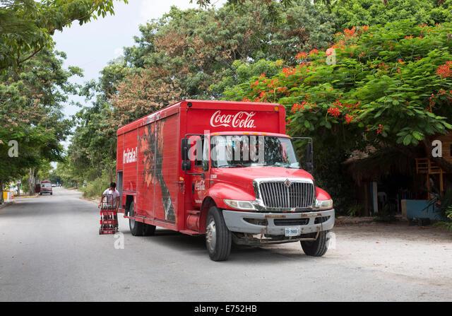 Coca Cola van delivering Mexico - Stock Image