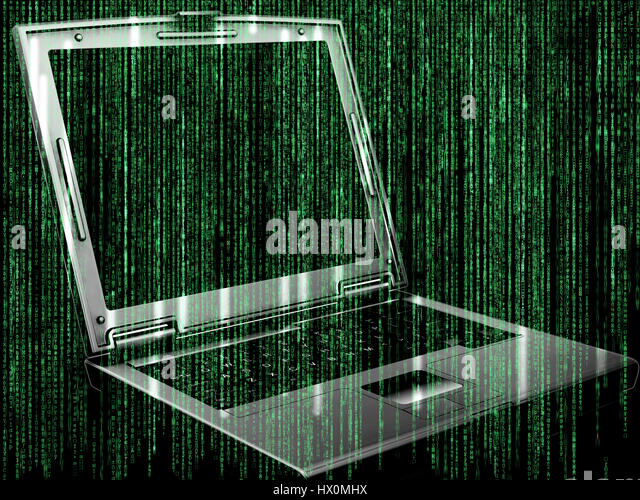Futuristic background with matrix style code design with 3D laptop - Stock Image