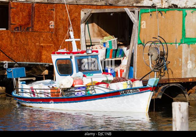 Local fishing boats, Potamos Creek, Cyprus. - Stock Image