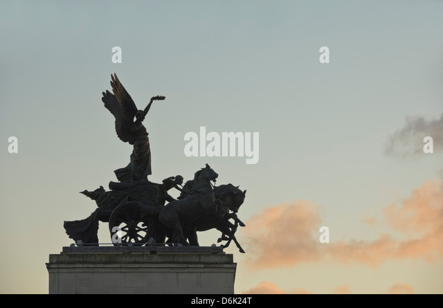 Detail of Wellington Arch, Hyde Park Corner, London, England, United Kingdom, Europe - Stock Image
