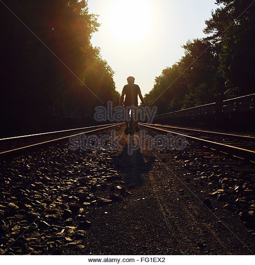 Man Cycling Amidst Railroad Tracks And Trees Against Sky During Sunny Day - Stock Image