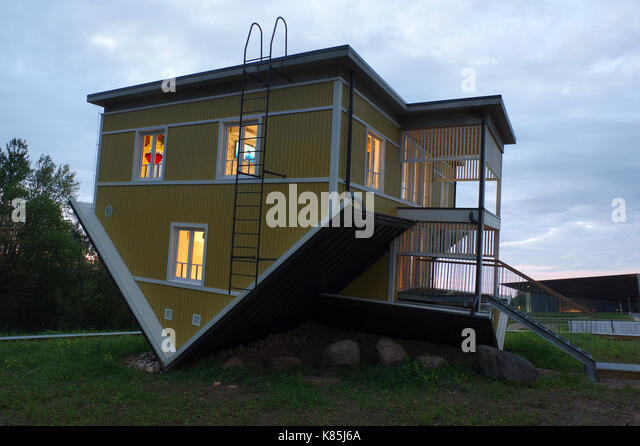Upside down house in Tartu. Estonia 17th September 2017 - Stock Image