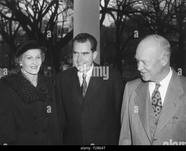 President Dwight Eisenhower with Richard and Pat Nixon after their return from East Asia. Dec. 14, 1953. The six - Stock Image