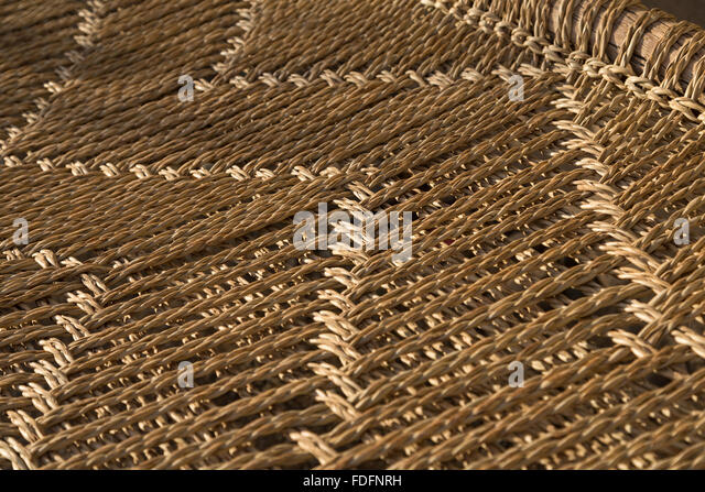 Detail of the pattern on a natural-fibre woven bed in Hamedila, Ethiopia - Stock Image