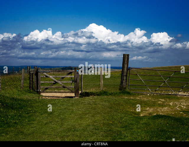 Walking the South Downs Way near Brighton and Lewes, Sussex - Stock Image