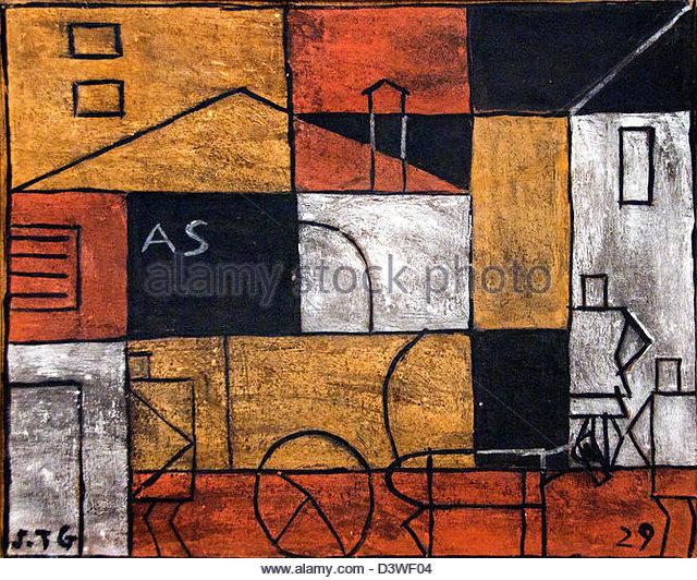 Structure with Street 1929 Joaquin Torres Garci  Uruguayan Uruguay - Stock Image