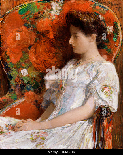Nicholas Chevalier, The Victorian Chair 1906 Oil on wood. Smithsonian American Art Museum, Washington, D.C., USA. - Stock Image