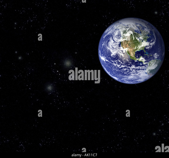 Satellite Image of earth in Space The Americas prominent - Stock Image