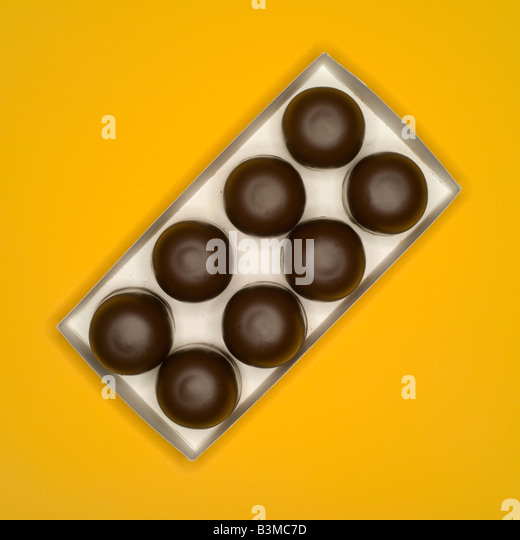 Chocolate confectionary, traditional German candy, elevated view - Stock Image