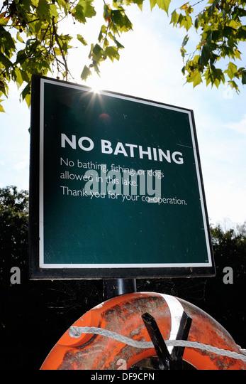 No bathing sign. - Stock Image