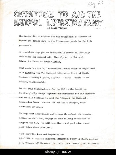 A Vietnam War era leaflet from the Committee to Aid the National Liberation Front of South Vietnam advocating that - Stock Image