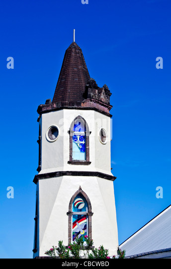 Dominica Bethesda Methodist Church of Roseau steeple, a capital city landmark - Stock Image