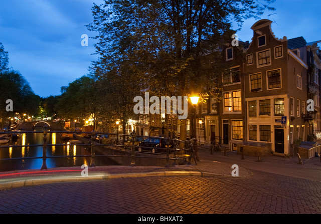 Amsterdam, Reguliersgracht at twilight - Stock Image