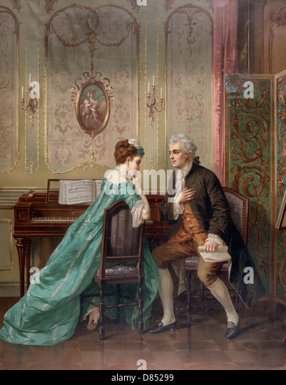 The Proposal - man proposing to woman seated at keyboard instrument, circa 1873 - Stock-Bilder