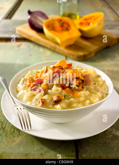 Roast Butternut squash on saffron risotto - Stock Image