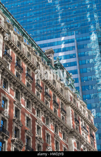 Contrasting Architecture, Times Square, NYC, USA - Stock Image