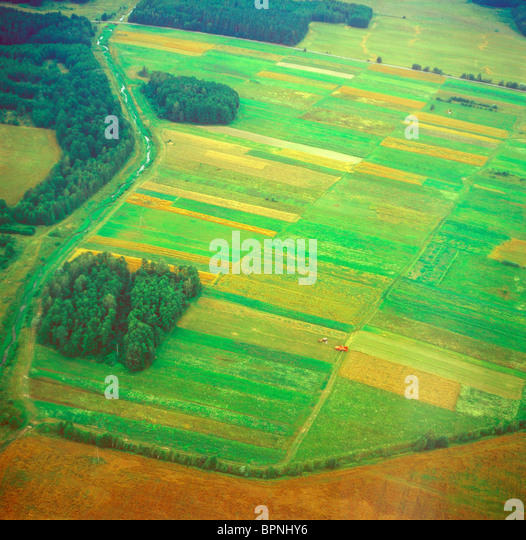Meadows and fields. Aerial image. - Stock-Bilder