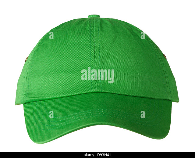 Green Baseball cap on white background - Stock Image