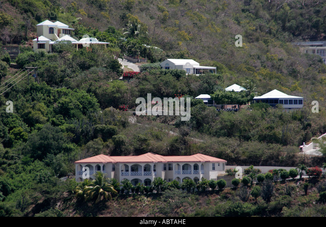 BVI Tortola houses mansion hillside - Stock Image