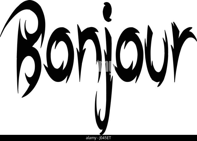 Bonjour text sign illustration on a white background - Stock Image