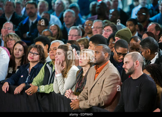 Wayne, Michigan - Part of the crowd waiting for President Barack Obama to speak at Ford's Michigan Assembly - Stock Image