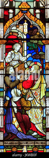 Miracles of Jesus, Say Unto Thee Arise, stained glass window, by Heaton Butler & Bayne, 1878, Swaffham, Norfolk, - Stock Image
