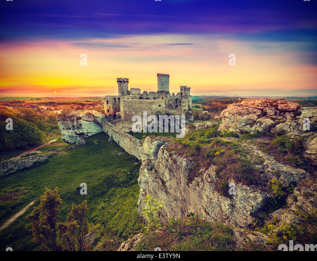 Beautiful sunset over ruins, Poland, vintage retro style. - Stock Image