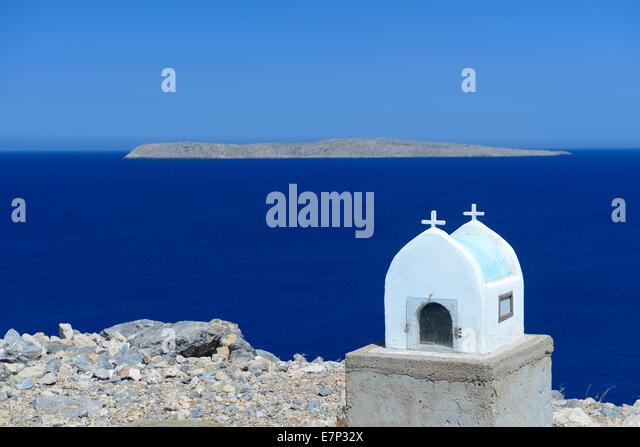 Europe, Greece, Greek, Crete, Mediterranean, island, Itanos, Beach, church, religion, sea, white, - Stock Image