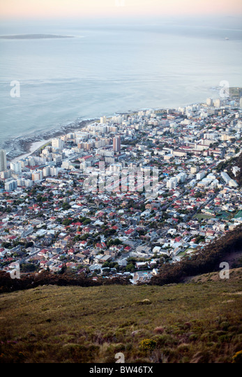 View over Fresnaye and Sea Point districts of Cape Town from Lion's Head. - Stock Image