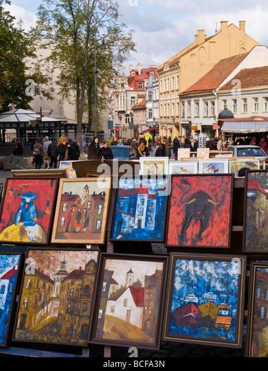 Lithuania, Vilnius, paintings for sale - Stock-Bilder