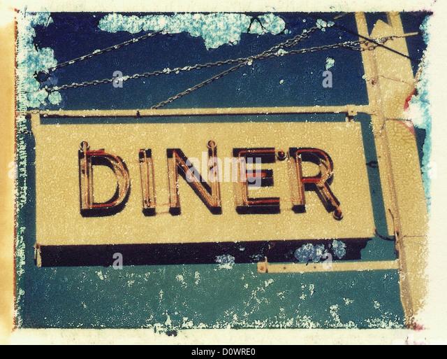 a neon diner sign in New York , NY.. polaroid transfer, ©mak - Stock Image