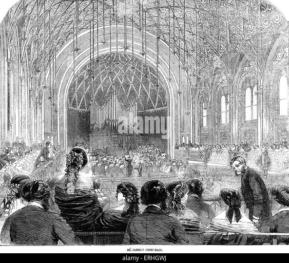 St James' Hall, London in the 19th century concert.   Illustrated London News 10 April 1858 (where Saint Saens' - Stock-Bilder
