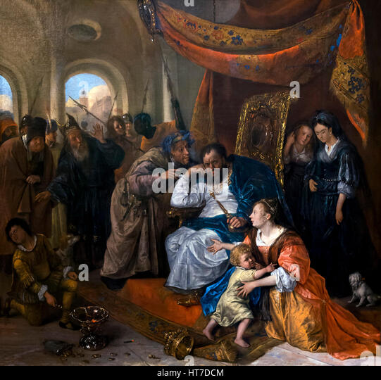 Moses and Pharaoh's Crown, by Jan Steen, circa 1670, Royal Art Gallery, Mauritshuis Museum, The Hague, Netherlands, - Stock Image