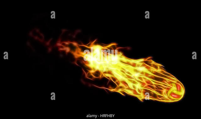 3d illustration of burning volleyball attack. isolated on black. - Stock Image