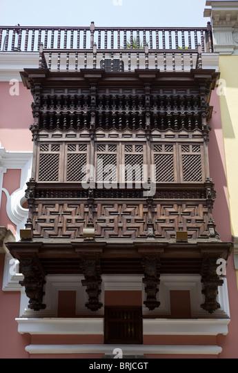 Wooden Balcony Downtown Lima Peru - Stock Image