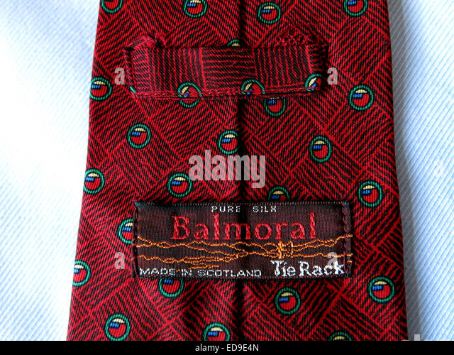 Interesting vintage Tie rack Balmoral Scotland tie, male neckware in silk - Stock Image