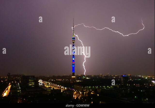 Moscow, Russia. 19th July, 2016. Lightning lights up the sky over Moscow's Ostankino District in a thunderstorm. - Stock Image