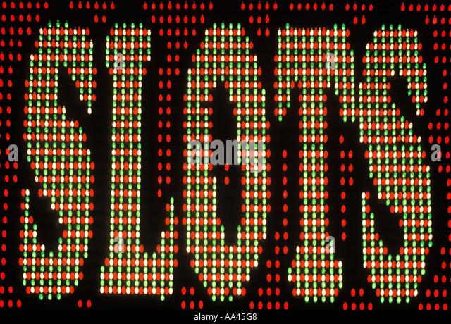 USA Nevada Las Vegas Nevada Casino Slots Sign - Stock Image