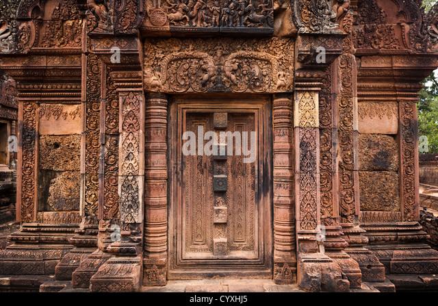Temple carvings banteay srei stock photos