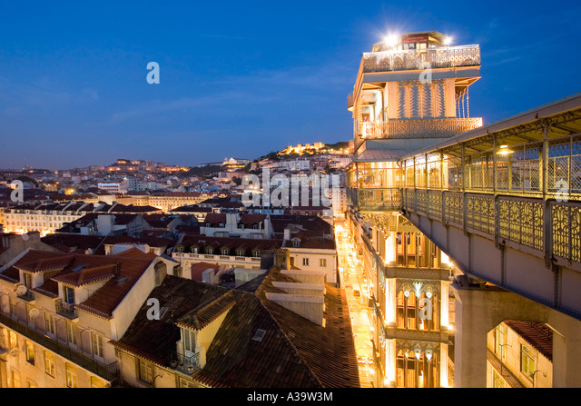 Portugal Lisbon Portugal View from Elevator Santa Justa - Stock Image
