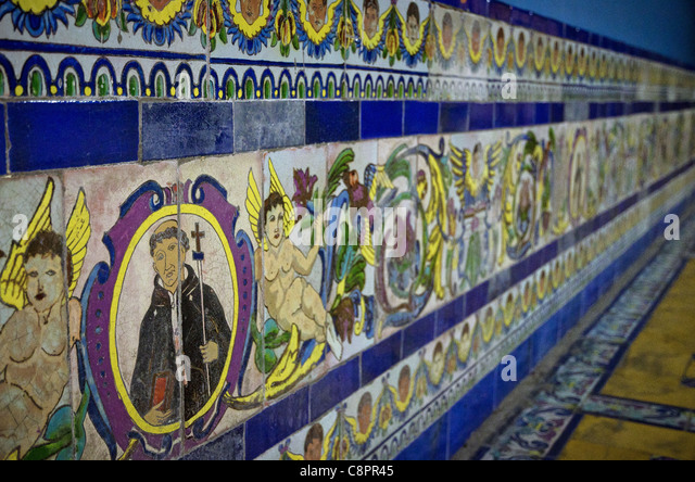 Painted tiles in Convent of Santo Domingo Lima Peru - Stock Image