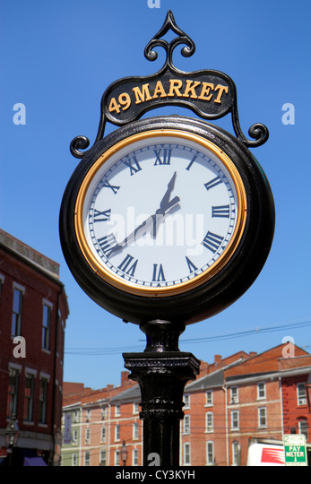 New Hampshire Portsmouth Market Street clock - Stock Image